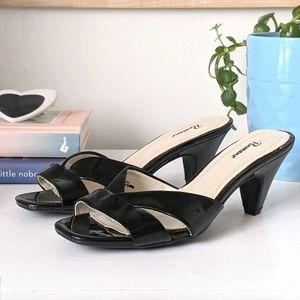 black slide on sandals with kitten heels, size 7